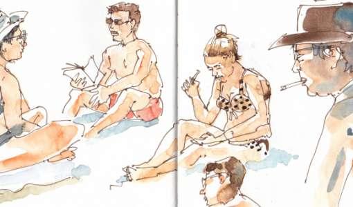 Skizzieren am Strand